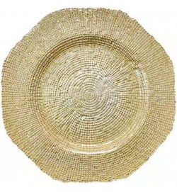 Hylas Champagne Gold glass Charger Plates (8-pk)