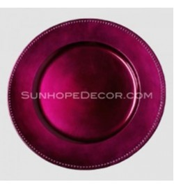 Burgundy Beaded Round Charger Plates (24-PK)