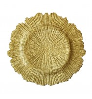 Flora Glass Charger Plates-Gold (per piece)