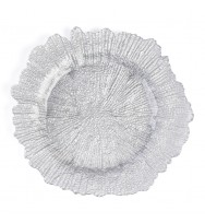 Flora Glass Charger Plates-Silver (per piece)