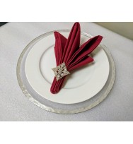 Rimmed Glass Charger Plate - Silver (8-PK)