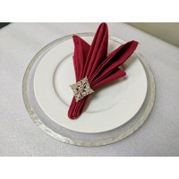 Rimmed Glass Charger Plate - Silver (8-PK)_Silver Rim Painted on Back