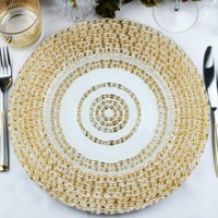 Gold/White Glass Charger Plates (8-PK)