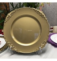 Glitter Gold Vintage Round Charger Plate (24-PK)