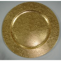 Wave Pattern Gold Charger Plates (24-PK)