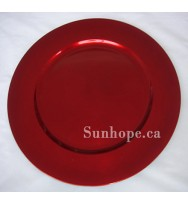 Red Plain Charger Plate (24-PK)