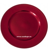 Red Beaded Charger Plates (24-PK)