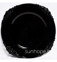 Black Flower Stud Charger Plate (24-PK)