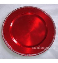 Red Rhinestone Charger Plate (24-PK)