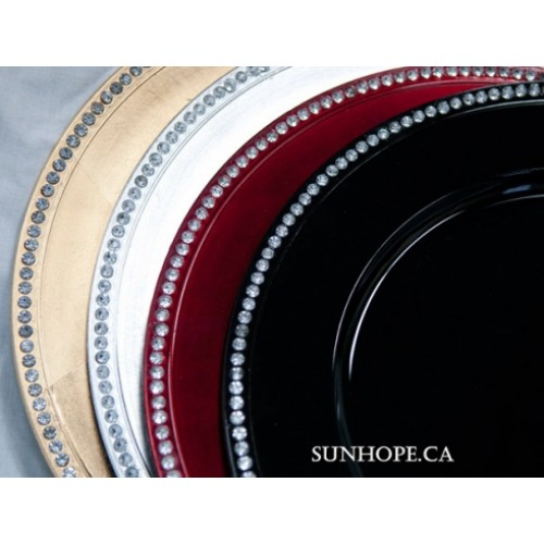 Red Rhinestone Charger Plate (24-PK) by Sunhope