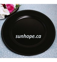 Black Beaded Round Charger Plates (24-PK)