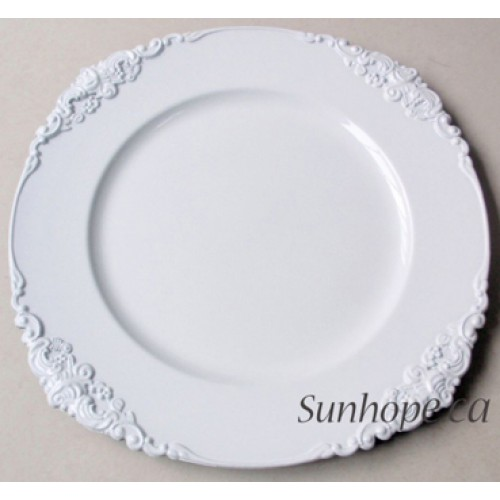White Vintage Round Charger Plate 24 Pk By Sunhope