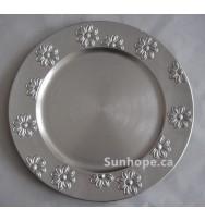 Silver Flower Edge Charger Plates (24-PK)