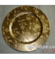 Gold Leaves Charger Plates (24-PK)