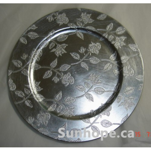 silver leaves charger plates 24 pk by sunhope. Black Bedroom Furniture Sets. Home Design Ideas