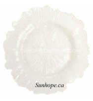 Coral Glass Charger Plate-White (8-PK)