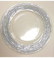Huron Glass Charger Plates-Silver (8pk)