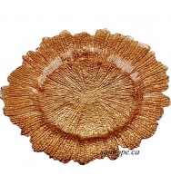 Coral Glass Charger Plate-Dark Gold(8-PK)