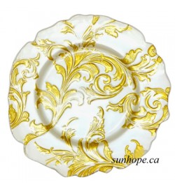 Vanessa Glass Charger Plate-Gold on White (8-PK)