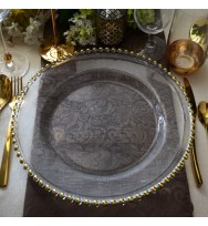 Gold Beaded Patterned Glass Charger Plate (8-PK)