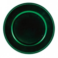 Forest Green Beaded Charger Plates (24-PK)